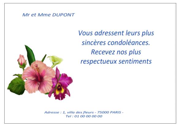 modele texte carte de condoleances