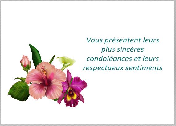 modele de carte pour condoleances