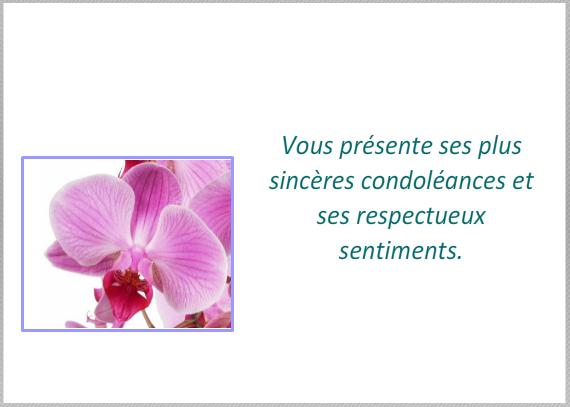 modele carte de visite pour condoleances